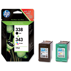 Hewlett Packard [HP] No.338 & 343 Inkjet Cartridge Page Life 480/330pp Black/Colour Ref SD449EE [Pack 2] Ident: 811G